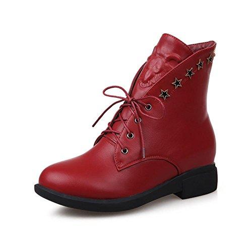 Rond Chaussures YC Marron Bottes Casual Rouge L Plat red Bout Talon Noir Femmes F6wTYTq