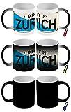 LEotiE SINCE 2004 Zaubertasse Farbwechseltasse Kaffeebecher Tasse Becher Latte Cappuccino Espresso Retro Metropole Zürich Schweiz