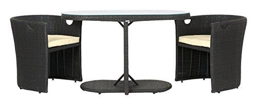 Rattan4Life 3-teilig Den Haag Deluxe Polyrattan Gartenmöbel Set, Sofa/Lounge/Gartengarnitur/Kissenbezug, schwarz/braun/beige (Belle Set Capri)