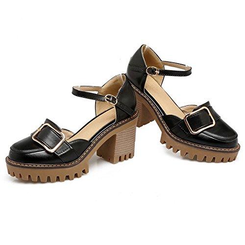 COOLCEPT Damen Mode Knochelriemchen Sandalen Geschlossene Blockabsatz Plateau Schuhe Schwarz