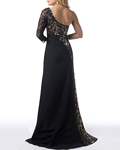 Robe de Soirée Femmes Longue Bustier Dentelle Une Epaule Fendue sur Côté Robes pour Cocktail Noir