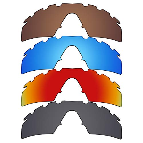 Mryok polarisierte Ersatzgläser für Oakley M Frame Strike Sonnenbrillen - Stealth Black/Fire Red/Ice Blue/Bronze Braun, 4 Paar