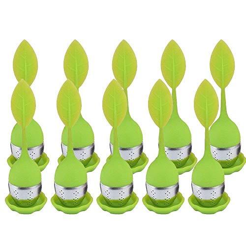ose Blatt Tee Infuser, Edelstahl Teesieb & Tee Steeper & Teekanne Mit Langen Silikon Blattform Griff (10 STÜCK Grün Loose Blattform) ()
