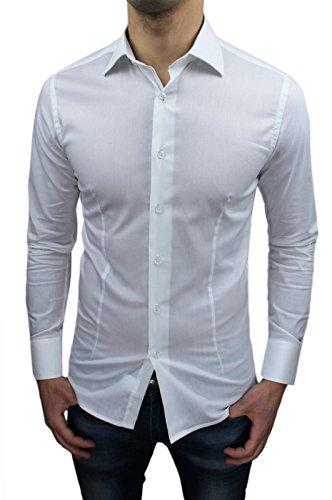 Camicia uomo sartoriale bianca slim fit aderente nuova casual elegante (m)