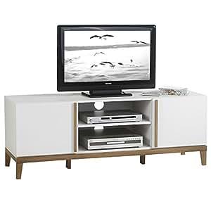 IDIMEX TV Rack Lowboard Hifi Möbel Fernsehtisch Beistelltisch Wohnzimmertisch RIGA, 2 Fächer, 2 Türen, weiß