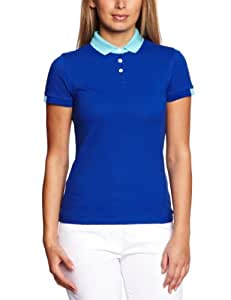 Club Green Eagle Women's Short Sleeve Colour Block Polo T Shirt - Duke Blue, Medium