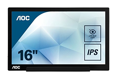 AOC I1601FWUX 39,6 cm (15,6 Zoll) tragbarer USB Monitor (Stromversorgung über USB Typ-C, 1920 x 1080, 60 Hz, Auto Pivot) schwarz