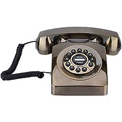 VBESTLIFE Téléphone Fixe Classique, Téléphone Antique Vintage pour la Maison (Bronze)