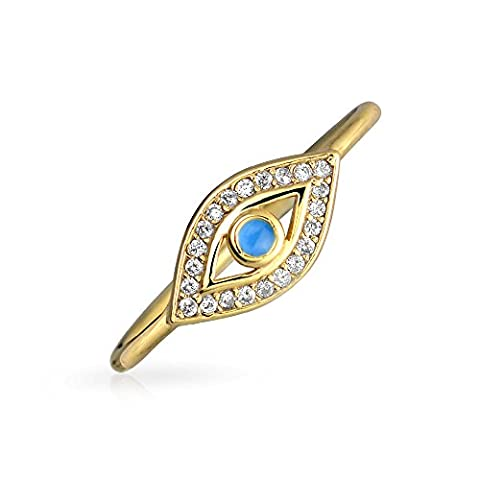 Bling Jewelry vergoldet CZ blauer Emailfarbe böse Auge stapelbar Ring 925 (Evil Eye Anello)