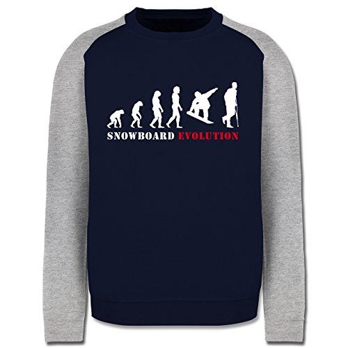 Evolution - Snowboard Evolution - Herren Baseball Pullover Navy Blau/Grau Meliert