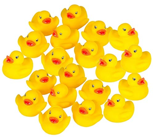 Makwes 20 Stück Enten Baby Dusche Spielzeug Gelb Entchen Gummiente,Squeeze Wird klingen, Bade Ente, Badeente, Mini Gelb Gummi Bad Enten Spielzeug Badespielzeug,sch-Enten4 * 4 * 3cm