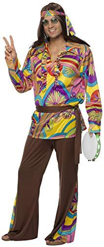 Smiffys, Herren Hippie Kostüm, Hose, Hemd, Stirnband und Gürtel, Größe: M, 32032