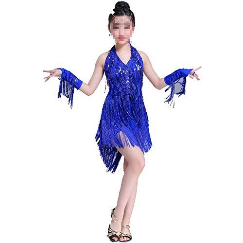 Kleid für Kind Mädchen Kinder 110-170 cm Fransen Tanzkleid Tanz Bühne Leistung Wettbewerb Ballroom Dance Kostüm (Farbe : Blau, Größe : - Wettbewerb Ballroom Dance Kostüm