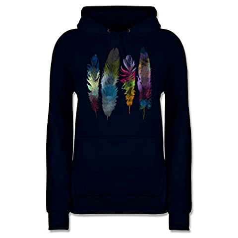 Boheme Look - Federn Wasserfarbe Watercolor Feathers - M - Dunkelblau - JH001F - Damen Premium Kapuzenpullover / (Hippie Vintage-wrap)