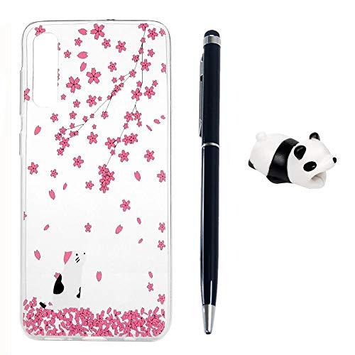 Kompatibel für Samsung Galaxy A50 Handyhülle, TPU Silikon Dünn Schutzhülle mit Kabelschützer Eingabestift, Gemalt Kratzfest Stoßfest Durchsichtig Weich Taschen, Blütenblatt Kätzchen -
