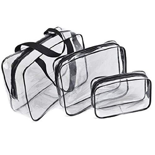 AchidistviQ - Set di 3 trousse da viaggio per trucchi e cosmetici, impermeabili, da viaggio Transparent
