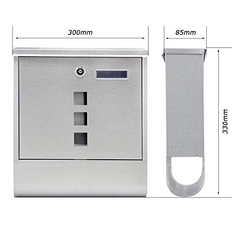 SAILUN® Edelstahl-Briefkasten mit Zeitungsrolle Aufklappbarem Regendach Postkasten mit Zeitungsfach (Silber, B Type) - 4
