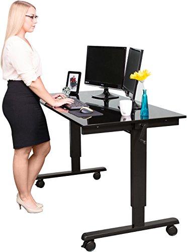 Höhenverstellbarer Schreibtisch (Rahmen schwarz / Hochglanzdeckel schwarz, Schreibtisch Länge: 150cm) +
