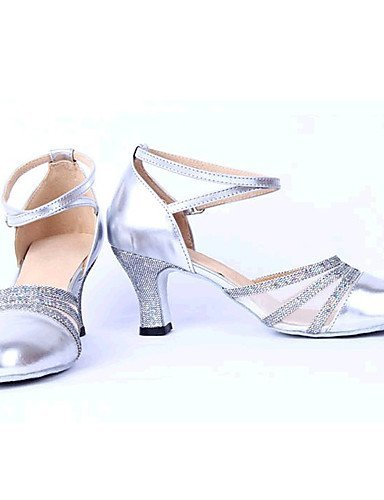 ShangYi Non Customizable Women's Dance Shoes Latin Leather/Leatherette Chunky Heel Black/Silver/Gold Silver