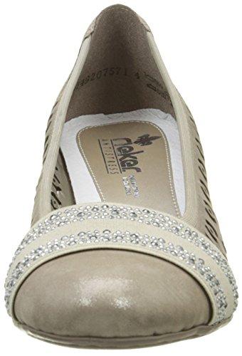 Rieker45163 42 - Scarpe con Tacco Donna Beige (Beige (Murmel/Beige/Murmel))