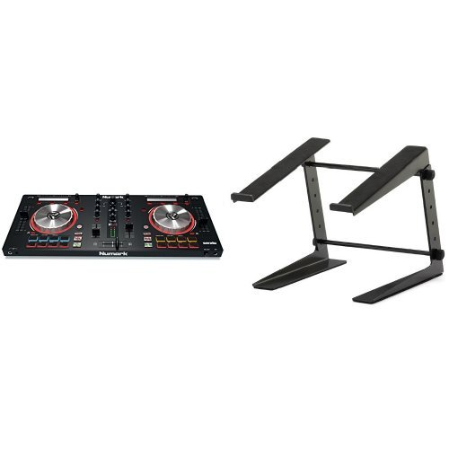 Numark MixTrack Pro III | 2 Deck DJ Controller mit Audio I/O + Serato DJ Intro & Prime Loop Remix Tool Kit + ah Stands SLT001E Laptopständer Bundle