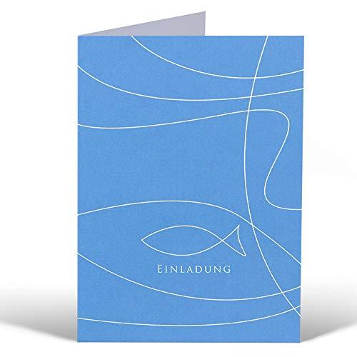 Einladungskarte 'Fisch' Blau - zur Kommunion, Konfirmation oder Taufe - zum Bedrucken