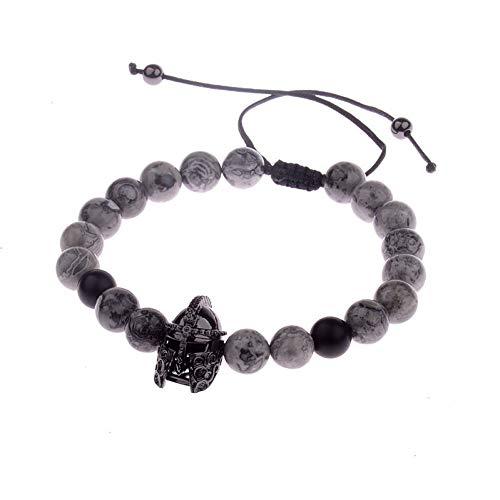Imagen de ygsvt pulsera soldier helmet cz beads bracelet macrame charm bracelet hombres natural grey stone beads bracelets