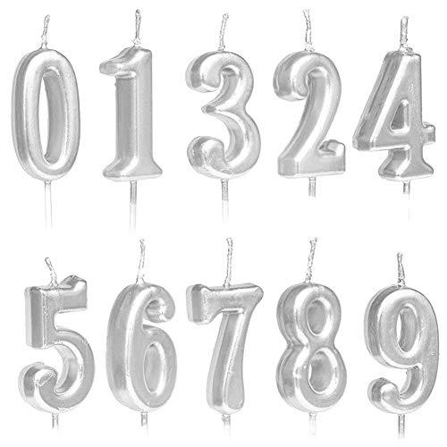skerzen Zahlen Zahlen Zahlen 0-9 Glitzer Kuchen Dekoration für Geburtstag Party Gastgeschenk Party Feier Gold Silber Rose Gold silberfarben ()