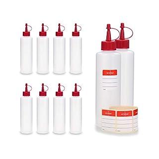 OCTOPUS® HDPE Plastikflaschen, z.B. für E-Liquids (E-Zigaretten), Liquidflaschen bzw. Kunststoffflaschen mit roten Spritzverschlüssen / Tropfverschlüssen, inkl. Beschriftungsetiketten 10 x 250 ml
