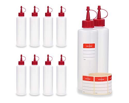 10 x 250 ml Octopus bottiglie di plastica in HDPE con tappi rossi a spruzzo e a goccia, per es. contenere nicotina liquida (e-liquid), resistenti alle sostanze chimiche, incl. 10 etichette