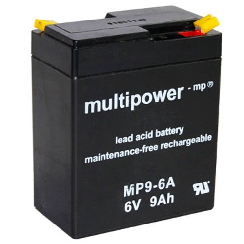 Multipower Bleiakku MP9-6 A (6V / 9 Ah), wartungsfrei (Volt Batterie 6 Wheels Power)