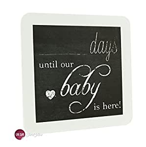 Chic Countdown To New Baby Pregnancy Plaque Sign Baby Shower Gift by ukgiftstoreonline