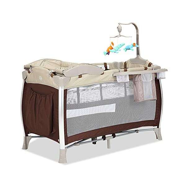 KLI Portable Folding Newborn Baby Crib Crib Baby Toddler Cotton Music Game Kindergarten Travel Bed Baby Supplies, 125X65x77cm KLI 1.Shipping list: crib, coir mattress, shelf, second floor bed, diaper table, folding mattress, rotating music stand, arched toy frame, travel storage bag arched mosquito net, diaper pad . size: 125x65x77cm. 2. Application age: 0-4 years old. 3. Weight duration: 50 kg. 1