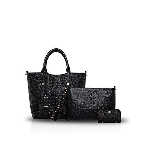 NICOLEDORIS-Women-Crossbody-Tote-Handbag-3PCS-Bag-Crocodile-PU-Leather