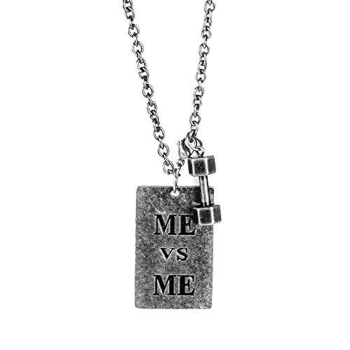 AEYMF Persönlichkeit Eignungsübung Kleine Hantel Glaube Glaubenssperre Alte Silber Quadrat Paar Anhänger Halskette,Silver-Longline Longline Leder
