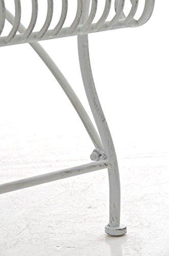 Gartenbank aus Metall in antik Weiß, eine romantische Nostalgie Liege-Bank – Ruhebank mit Ornamenten im Landhausstil - 8