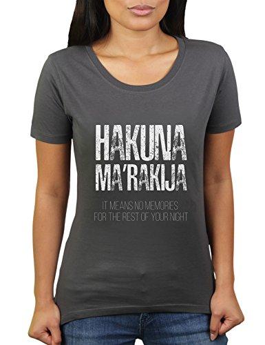 Hakuna Ma'Rakija - Damen T-Shirt von KaterLikoli, Gr. 3XL, Anthrazit