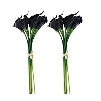 Vosarea Ramos Artificiales de la Lirio de la Cala, Flores Falsas del Tacto Real para la decoración Nupcial del Banquete de Boda del jardín casero, Negro