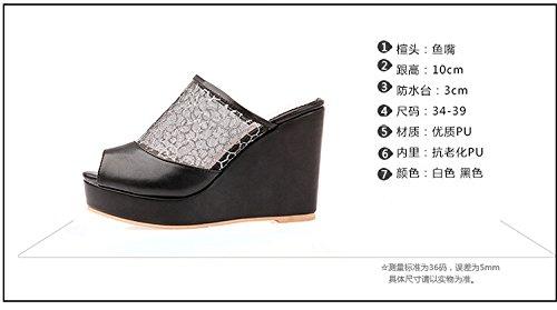 ZYUSHIZ Le Bureau imperméable High-Heel Shoes épais noir et blanc aux Philippines avec chaussons Sandales imperméable Mme Bureau 36