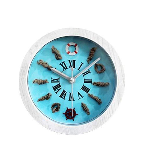 ZXL Wecker Holz Mittelmeer Nordic Kleine Retro Europäischen Stil Ruder Rettungsring Kreative Uhr Tisch Stechuhr