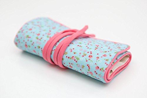 Diseo-de-flor-azul-y-Rosa-Joyero-de-tela-Sarah-Papworth-Vintage