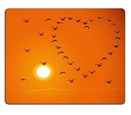 Yanteng tappetino per mouse tappetino per mouse tappetino per mouse in gomma naturale sagome di stormi di uccelli in volo a forma di cuore contro un tramonto e il cielo arancione m0a03858