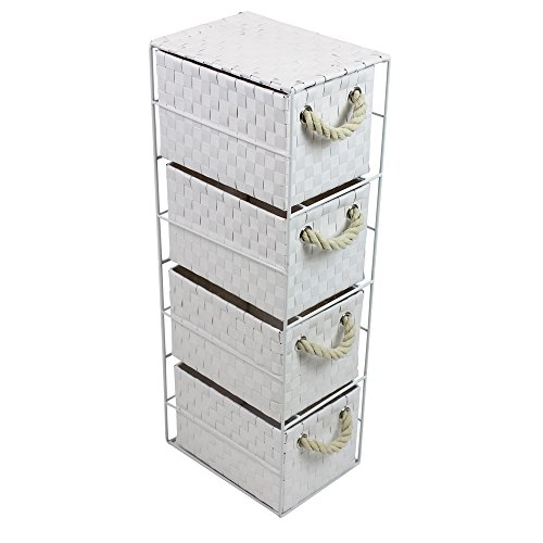 Jvl Four Drawer White Storage Unit With Rope Handles  X  Cm