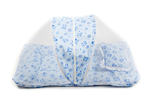 Baby-Bedding-Set-with-Mosquito-NetFoldable-Mattress-And-A-Pillow-Blue