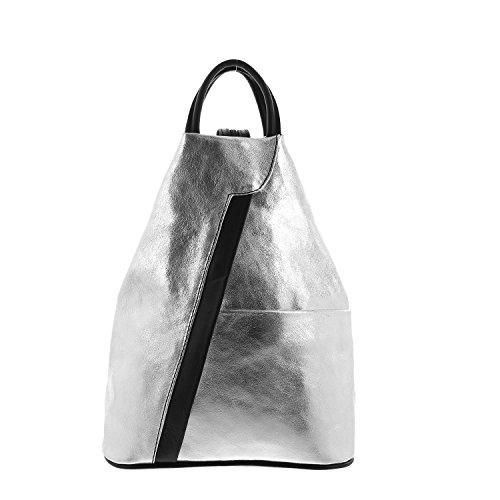 IO.IO.MIO leichter echt Leder Damenrucksack CityRucksack DayPack freie Farbwahl, 27-18x30x13 cm (B x H x T) (silber/schwarz)