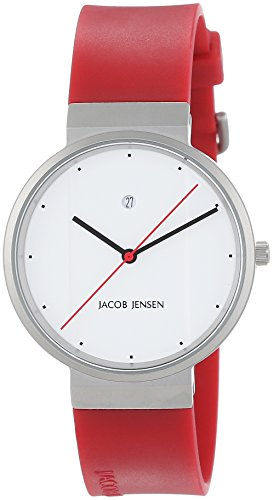 Jacob Jensen New Series Women's Quartz Watch with White Dial Analogue Display and Red Rubber Strap 761