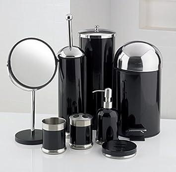 8 piece bathroom accessories set black amazoncouk kitchen home
