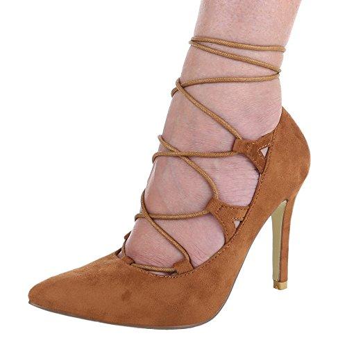 Damen Schuhe, JH1969-6, Pumps, High Heels mit Schnürung, Synthetik in Hochwertiger Wildlederoptik, Camel, Gr 40