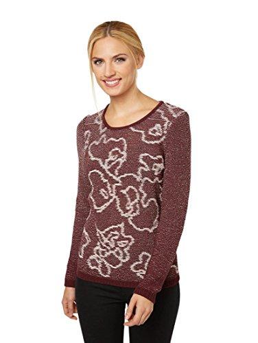 Bonita Damen Pullover mit zweifarbigen Strick-Muster XXL dark bordeaux - Strickmuster Damen-pullover