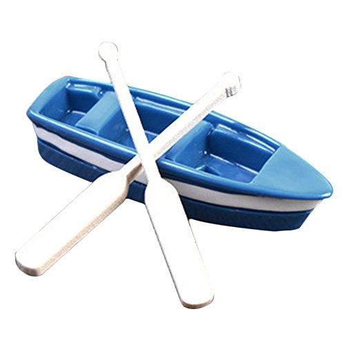 RFKMS Kunststoff Holzboot und Paddel Harz kleine Ornamente blau Boot und 2 Holz Zellstoff Home Office Garten (Stil 1blau)